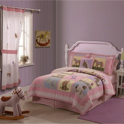 Pem America - Pem America Giddy Up Bedding Set Multicolor - QS0721TW-2300 - Shop for Bedding Sets from Hayneedle.com! Featuring a fun and beautiful pattern of horses ribbons and horseshoes your little one will love feeling like a real cowgirl while sleeping under the Pem America Giddy Up Bedding Set. Soft pinks beiges and blues accent any decor perfectly and the soft 100% cotton face is perfect for cuddling. Its 94% cotton/6% other fiber fill will keep your child warm throughout the night and its beautiful hand embroidery will delight her. Bedding Set Components: Twin: quilt 1 sham Full/Queen: quilt 2 shams Quilt Dimensions: Twin: 86L x 68W inches Full/Queen: 86L x 86W inches About Pem AmericaMakers of high quality handcrafted textiles Pem America Outlet specializes in bedding that enhances your comfort and emphasizes the importance of a good night's rest. Comforters quilts pillows and other items for the bedroom are made with care and craftsmanship by Pem America. Their products cover a wide range of materials styles colors and designs all made with long-lasting quality construction and soft long-wearing materials. Details like fine stitching embroidery and crochet decorations and reinforced seaming make Pem America bedding comfortable and just right for you and your family.