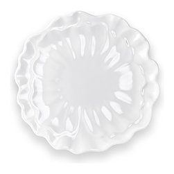 "Peony 11"" Plate - White Floral Dinner Plate"
