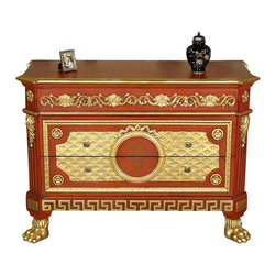 MBW Furniture - Italian Painted Cherry & Gold Ornate Chest Dresser Commode - This is a beautiful ornate Italian style carved painted cherry and gold dresser commode. It has an attractive distressed top surface with shaped corners and an elegant golden edge. It features 3 convenient drawers that run smoothly on runners and they have gorgeous facings with lovely round metal handles. This piece is richly embellished with hand painted and hand carved accents that include foliage and floral designs, fancy fretwork, acanthus leaves and distinguished Greek key patterns. In addition it has luxurious large carved gold paw feet. It is an outlandish piece that will make a lovely addition to any room.