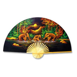 Oriental-Décor - Velvet Elephants Decorative Fan - A family of bathing elephants is the theme of this vividly painted velvet fan. Place it above a bed, sofa or console table to show that the elephants aren't the only ones in possession of great wisdom.