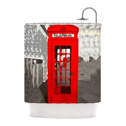 """Kess InHouse - Oriana Cordero """"London"""" Red Gray Shower Curtain - Finally waterproof artwork for the bathroom, otherwise known as our limited edition Kess InHouse shower curtain. This shower curtain is so artistic and inventive, you'd better get used to dropping the soap. We're so lucky to have so many wonderful artists that you'll probably want to order more than one and switch them every season. You're sure to impress your guests with your bathroom gallery in addition to your loveable shower singing."""