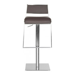 Safavieh - Natania Barstool - Brown - Slim and tapered, the adjustable Natania Barstool from Safavieh brings contemporary elegance to the kitchen or family room. Framed in stainless steel, this streamlined barstool is upholstered in brown regenerated and PU leathers. The Natania barstool can be positioned from 29.13 to 38.98 inches in total height.