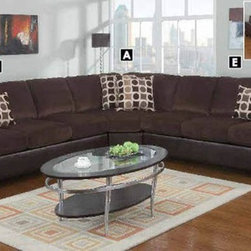Poundex Furniture – U-Shaped Modular Microfiber Sectional Sofa - F7235/F7231/F72 - Set Includes 3-Seater w/ Arm , Cuddle Wedge And 3-Seater w/ Arm