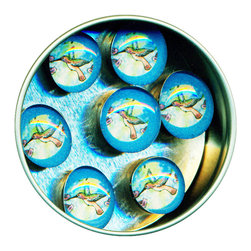 """Hummingbird Glass Gem Magnet Set - Handmade in our studio, our Hummingbird glass gem magnets started with tiny paintings and then reproduced. Each one is then sealed under a clear glass gem and attached to super strong ceramic magnets, so they're not only cute, they're functional. (Not like those magnets that fall off when you close the refrigerator door!)  Each magnet is about 3/4 inch wide, the tin is 2.75"""" wide. Set of 7 in a tin. Made in the USA."""