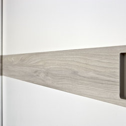 """Custom Made Closets with Sliding Doors - """"Class"""" sliding doors in white lacquer and """"Olmo Chiaro"""" solid wood insert."""