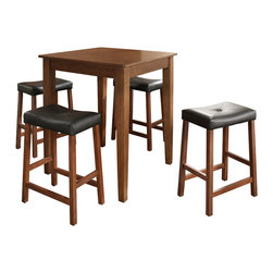 Crosley - 5 Piece Pub Dining Set with Tapered Leg and Upholstered Saddle Stools - Constructed of solid hardwood and wood veneers, the 5 piece Pub / High Dining set is built to last. Whether you are looking for dining for four, or just a great addition to the basement or bar area, this set is sure to add a touch of style to any area of your home.*Free Shipping on orders over $100.00 to the 48 contiguous United States. Orders to Alaska, Hawaii, and all other countries, need to have the shipping calculated and the cost added to the order. Contact us at bentleymarketing@cox.net, for the additional fee.
