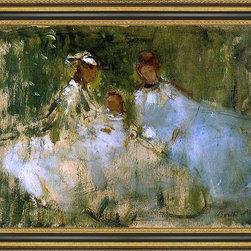 """Art MegaMart - BerMorisot Women Little Girls Natural Setting - 16"""" x 24"""" Berthe Morisot Women and Little Girls in a Natural Setting framed premium canvas print reproduced to meet museum quality standards. Our Museum quality canvas prints are produced using high-precision print technology for a more accurate reproduction printed on high quality canvas with fade-resistant, archival inks. Our progressive business model allows us to offer works of art to you at the best wholesale pricing, significantly less than art gallery prices, affordable to all. This artwork is hand stretched onto wooden stretcher bars, then mounted into our 3 3/4"""" wide gold finish frame with black panel by one of our expert framers. Our framed canvas print comes with hardware, ready to hang on your wall.  We present a comprehensive collection of exceptional canvas art reproductions by Berthe Morisot."""