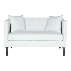 Safavieh - Nate Settee, Powder Blue Linen-Weave Poly - A loveseat to love at first sight, the Nate tufted settee is a transitional update of classic chesterfield and tuxedo sofa styles. With powder blue linen-weave poly piped in white, it features button-tufting, silver nailhead trim, and two throw pillows. Sophisticated yet cozy, the Nate settee rests on beautifully turned Louis XVI legs in an espresso finish.