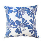 Balanced Design - Hand Printed Linen/Cotton Pillow - Alex, Cobalt, 22 x 22 - Bright colors, a fun pattern and handmade style give this pillow panache. Swirling blooms hand-printed on weighty white canvas or a linen-cotton blend come in your choice of sizes. Each features a zipper closure and an ecofriendly insert made from recycled plastic and feathers that can be removed for easy cleaning.