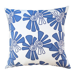 Hand Printed Linen/Cotton Pillow - Alex, Cobalt, 22 x 22