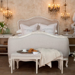Chloe Bed - Louis XV Corbeille style antique reproduction bed, beautifully hand finished in a fog linen.