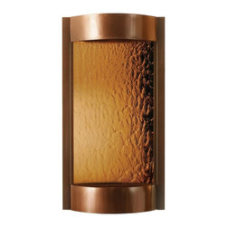 """Bluworld - Contempo Solare Bronze Mirror & Copper Indoor Wall Fountain - The Contempo indoor wall fountain is a wonder to look at and listen to. Featuring a dark copper frame and reservoir and a tempered bronze mirror panel that acts as a fall for the water. Create a mood of serenity as it humidifies and cleanses the air. An included halogen accent light adds sparkle making this a stunning room focal point. Includes an in-line filter submersible pump and accent light and adjustable flow valve. Mounts easily to drywall with a single bracket and included hardware. Indoor use only. Dark copper frame. Tempered bronze mirror. Submersible pump. Halogen accent light included. 36"""" high. 19"""" wide. 6"""" deep. From Bluworld fountains.  Contempo indoor wall fountain.  Indoor use only.  Dark copper frame.  Tempered bronze mirror.  Submersible pump.  Includes low-voltage halogen accent bulb.  36"""" high.  19"""" wide.  6"""" deep."""