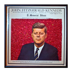 """Glittered John F Kennedy Album - Glittered record album. Album is framed in a black 12x12"""" square frame with front and back cover and clips holding the record in place on the back. Album covers are original vintage covers."""