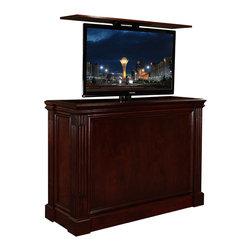 Cabinet Tronix - TV Lift Cabinet, Ritz, Made in USA, Mahogany, Against Wall, No Swivel - Ritz Cabernet Mahogany