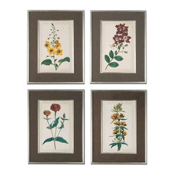 Uttermost - Uttermost Floral Varieties Framed Art, Set of 4 - 41393 - -Uttermost's floral art combines premium quality materials with unique high-style design.