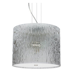 Besa Lighting - Besa Lighting 1KV-400700 Tamburo 3 Light Cable-Hung Pendant - Tamburo is a classic open-ended cylinder of handcrafted glass, a shape that will stand the test of time. Our Clear Stone glass is a clear blown glass with an outer texture of coarse sandstone. Inspired by the elements of nature, the appearance of the surface resembles the beautiful cut patterning melting ice over a rock formation. This blown glass is handcrafted by a skilled artisan, utilizing century old techniques that have been passed down from generation to generation. Each piece of this decor has its own artistic nature that can be individually appreciated. The cable pendant fixture is equipped with three (3) 10' silver aircraft cables and 10' AWM cordset, and a low profile flat monopoint canopy.Features: