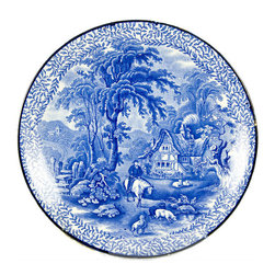 Lavish Shoestring - Consigned Blue and White Serving Plate with Countryside Painting by Kent Fenton - This is a vintage one-of-a-kind item.