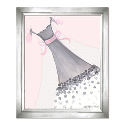 Doodlefish - Butterfly Couture - This piece of artwork is called Butterfly Couture. Artist Regina Nouvel combines original paintings, graphic elements, jewels and glitter to create a beautiful piece of art for your little girl's room. The hottest combination of grey and pink will work with any decor and looks amazing with our Amore and Dozen Roses Bedding sets. The jewels adorn the neckline of the dress and the butterflies and glitter covers the sheer, graphic infused train.  A Selection of painted or silver frames are available.