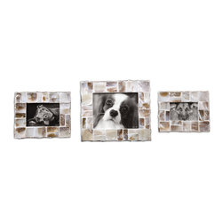 Capiz Photo Frames Set/3 - These Photo Frames Are Made Of Natural Capiz Shell. Sizes: Sm-8x10, Med-9x11, Lg-13x15. Holds Photo Sizes 4x6, 5x7 And 8x10.