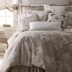 """Callisto Home - Callisto Home King Duvet Cover, Tan with Ivory Embroidery - Tan linen with ivory embroidery. 110"""" x 98"""". Imported. Dry clean."""