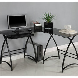 Alexa Black L Shaped Glass Computer Desk - I like that you can find a great contemporary desk set with the practical space you need. It has a clean light look that won't overpower your office.