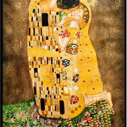 "overstockArt.com - Klimt - The Kiss (Full View) - 36"" X 48"" Oil Painting On Canvas Hand painted oil reproduction of a famous Klimt painting, The Kiss. The original masterpiece was created in 1907-08. Today it has been carefully recreated detail-by-detail, color-by-color to near perfection. Gustav Klimt, the Vienna master painted the Kiss oil painting in 1907. The painting depicts a couple surrounded by a gold blanket and ornaments sharing a moment of shear passion - the perfect kiss. In the oil and gold masterpiece, the man appears standing as he holds in his arms the kneeling woman. The two seem to be positioned on a flower field, kissing, totally engaged with one another. The woman seems to be following the lead of her partner, but is not taking an active part. The patterns of the man are mostly black and white rectangles, while the woman is engulfed in flowers. The identity of the people depicted in this oil painting is not exactly clear; some suggest that it is Klimt himself and his beloved partner, Emilie Floge. However, that is sheer speculation as Klimt made it a point never to paint himself. Gustav Klimt (1862-1918) was one of the most innovative and controversial artists of the early twentieth century. Influenced by European avant-garde movements represented in the annual Secession exhibitions, Klimt's mature style combines richly decorative surface patterning with complex symbolism and allegory, often with overtly erotic content. This work of art has the same emotions and beauty as the original. Why not grace your home with this reproduced masterpiece? It is sure to bring many admirers!"