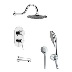 Remer - Sleek Tub and Shower Faucet with Multi Function Hand Shower - Multi function tub and shower faucet.