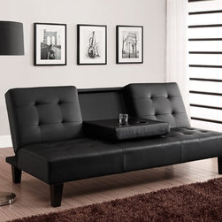 DHP - DHP Julia Cup Holder Convertible Futon Sofa Bed - Comfort and class collide with the Julia Convertible Sofa Bed with Drink Holder by DHP. The faux leather upholstery is chic,clean and modern,but the cushions provide all the relaxation of a soft pillow.