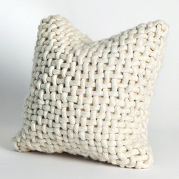 Noodle Felt Pillow-Bone - Hefty weave adds finger-inviting texture to your seaside guest bed or brings a thoughtful look to the clean lines of a transitional sofa.  The Noodle Felt Pillow in Bone is made from thick cords of felted wool, hand-woven into a zippered accent cushion cover.  Its subtle, goes-anywhere ivory tint enhances the classic appeal of the basic weave pattern.