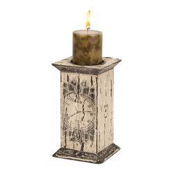 27315 Wood Candle Holder - Asher home decorators presents a range of classical range of candle holders ,27315 made of wood with clock embedded on the wood the right side of leg which makes it antique to add charm to the beauty to your home decoration.The 27315 candle holder is 9 inches in height and 5 inches in width.At the top, the stand have the hole to carry candle.The candle stand contains the one hole at the top to carry candles in it.The wood is painted with the white polish.Purposly it can be used for the candle light dinner also to have a romantic night.