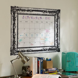 Vintage Frame Dry-Erase Calendar Decal - This is such a stylish way for my niece (or any young college student) to keep up with important dates in that busy social schedule.