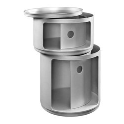 Modway - Orbit Storage Module in Silver - Now you see it, now you dont. In a perfect blend of visual effects and sliding hatches, Orbit shows you why decor shouldnt end with the trash can. Whether for your recyclables or not, the compact cylindrical design imparts a sense of futurism to your room. Made of resilient ABS plastic, complete your modern home or office with a contemporary piece that livens up even the most basic of utilities.