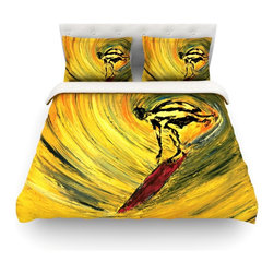 """Kess InHouse - Josh Serafin """"Suppose"""" Yellow Black Cotton Duvet Cover (Queen, 88"""" x 88"""") - Rest in comfort among this artistically inclined cotton blend duvet cover. This duvet cover is as light as a feather! You will be sure to be the envy of all of your guests with this aesthetically pleasing duvet. We highly recommend washing this as many times as you like as this material will not fade or lose comfort. Cotton blended, this duvet cover is not only beautiful and artistic but can be used year round with a duvet insert! Add our cotton shams to make your bed complete and looking stylish and artistic! Pillowcases not included."""