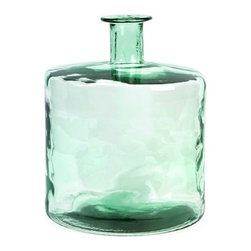 """IMAX - Vettriano Short Recycled Glass Vase - Reserving enough energy to light a 100 watt bulb for approximately four hours, the Vettriano short glass vase made from recycled glass, is a beautiful Earth-friendly accent. Item Dimensions: (18.0""""h x 14.00""""w x 14.00"""")"""