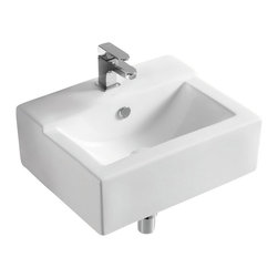 Caracalla - Rectangular White Ceramic Wall Mounted or Vessel Bathroom Sink, One Hole - Contemporary style rectangular sink for the bathroom or powder room. Designed to be either wall mounted or as a vessel sink, have a single faucet hole and built-in overflow by Caracalla in Italy. Made of ceramic with a white glaze finish.