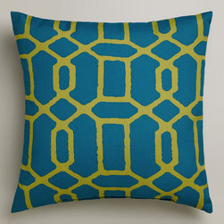 Blue and Green Gate Outdoor Throw Pillow -