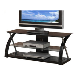 Adarn Inc. - Black Glass Metal Dynamic Entertainment Center, TV Stand - Experience home entertainment with a TV stand and media shelf that features a dynamic design while safely displaying your audio/visual appliances. Its tempered glass shelving it supported by a black frame of masterful curves and lines grabbing more attention than the television itself.