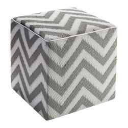 Fab Habitat - Laguna Pouf, Paloma & White - These saucy chevron cubes will brighten your pool, patio or playroom. Use them as extra seats or side tables, then just stack them when you're through. Each cube is handmade from recycled polypropylene and filled with polystyrene, for long-lasting comfort and color retention.