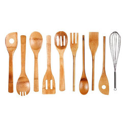 Cook N Home - Bamboo Kitchen Tool 10-piece Set - This 10-piece bamboo kitchen tool set includes all you need to get started cooking and serving. The set is heat- and stain-resistant,lightweight and durable.