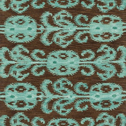 "Loloi Rugs - Loloi Rugs Milano Collection - Chocolate/Teal, 5'-0"" x 7'-6"" - The Milano Collection from India celebrates popular, high-fashion Ikats, but with a twist. Here, a chunky, hand-hooked construction in 100-percent wool adds lush texture and dimension to this series of nine distinctive, large-scale Ikat patterns. Complemented with a designer palette that will enliven any room, the Milano Collection comes in a full spectrum of up-to-date brights and neutrals."