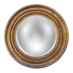 "Lamps Plus - Rustic - Lodge Maiden 25 1/4"" High Gold Leaf Convex Round Wall Mirror - The Maiden round wall mirror is a simple yet alluring design that features a beautiful gold leaf finish. The convex design bubbles out slightly from the wood and resin constructed frame and a double beaded trim circles the mirror glass. Hang above a console table bed or on an accent wall for light reflection and traditional style. Wood and resin construction. Gold leaf finish. Convex mirror glass. 25 1/4"" high. 25 1/4"" wide. 2"" deep. Mirror glass only is 17"" high 17"" wide.  Wood and resin construction.   Gold leaf finish.   Convex mirror glass.   25 1/4"" high.   25 1/4"" wide.   2"" deep.   Mirror glass only is 17"" high 17"" wide."