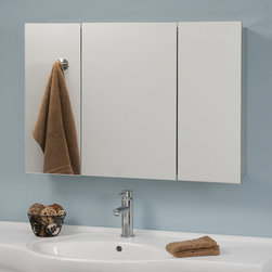 Camargo Stainless Steel Tri-View Medicine Cabinet with Mirror - The interior shelving of the Camargo Tri-View Medicine Cabinet make it a smart storage solution for your bathroom. Its frameless design and stainless steel construction provide a sleek, modern look, creating the perfect final touch for any bath remodel.