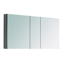 "Fresca - Fresca 50"" Wide Bathroom Medicine Cabinet w/ Mirrors - Dimensions:  49""W x 26""H x 5""D. 4 Glass Shelves. 3 Mirrored Doors. Recessed Mounting Option. . . . . This 50"" medicine cabinet features mirrors everywhere.  The edges have mirrors and also on the interior of the medicine cabinet.  The inside features four tempered glass shelves.  Can be wall mounted or recessed into the wall."