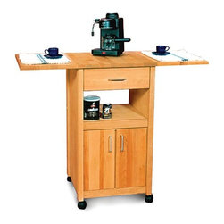 Catskill - Ashton Drop Leaf Kitchen Cart - 7222 - Shop for Carts from Hayneedle.com! Compact and versatile the Ashton Drop Leaf Kitchen Cart allows you to make the most of your space. It features both open and enclosed storage. You'll appreciate the butcher block top which is ideal for food preparation as well as the convenient top drawer central shelf and cabinet that opens to reveal enclosed shelving space. Two drop leaves allow you to double your prep surface in an instant. The top legs braces and drawer are crafted from oil-finished natural yellow birch hardwood which is indigenous to the Northeastern U.S. and ranges in color from blond to a darker walnut shade; the natural variation in color allows this cart to coordinate with your existing decor. The side panels are made from warp-resistant veneer to streamline the assembly process. Locking caster wheels provide convenient mobility or stationary use as needed.Dimensions:Overall (assembled): 40W x 20D x 35.5H inchesOverall (One Drop Leaf Up): 30W x 20D inchesOverall (Drop Leaves Down): 20W x 20D x 35.5H inchesInterior cabinet: 15.88W x 15.88D x 15H inchesInterior drawer: 13.38W x 14.88D x 4.75H inchesOpen Shelf: 15.88W x 15.88D x 6.5H inches This cart ships ready to assemble. The process is easy requiring only common household tools. Furniture will be shipped with all other necessary hardware and easy-to-follow instructions.The top of this cart is made for chopping and cutting and any scratches can be removed with high-grit sandpaper. Recent studies indicate that wood is safer for food preparation than plastic or glass cutting boards; bacteria like salmonella disappear quickly on wood but tend to live and thrive on plastic. You should always clean your wooden cutting board surface with soapy water taking care to remove any food particles and dry the board immediately.To maintain the beautiful finish of your butcher block top always wipe clean with a damp sponge or cloth and use a mild detergent. You should neve