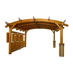 "Sonoma 12 x 16 ft. Arched Wood Pergola - Redwood - Enjoy the ultimate in outdoor gathering spaces with the Sonoma 12 x 16 ft. Arched Wood Pergola - Redwood. Great for parties and all kinds of events the wood pergola is made from durable Douglas fir in a redwood finish. Every piece of the pergola is dip-stained and precision-cut for guaranteed quality. Enjoy protection from the wind and the sun in exquisite comfort. The pergola includes an anchor system and is ready to assemble. Dimensions: 185L x 151.5W x 112H inches. Spruce up your outdoor setting a little more with the help of the Wall Kit for Sierra 10 x 10 ft. Pergola. Compatible with the beautiful Sierra Pergola this wall kit is made from the same durable Douglas fir in either a mocha or redwood finish. The kit is dip-stained and precision-cut for guaranteed quality. The features of this kit include two wall supports and three panes with fixed windows offering privacy and protection from the wind. Includes assembly hardware. Dimensions: 108.7L x 5W x 70H inches. About Outdoor GreatRoom CompanyWith over 50 patents to its name the Outdoor GreatRoom Company is one of the most innovative names in gas fireplaces and outdoor design period. Since 1975 Dan Ron Steve and Ger have produced a yard of amazing products like the Heat-N-Glo that have changed the industry. In fact they want to change the way you think about your backyard or patio. It's about bringing the luxury and comfort of the living room outside to make an """"Outdoor Room."""" They want you to literally think outside the box. To make that beautiful concept a reality Outdoor GreatRoom designs manufactures and sells pergolas outdoor kitchens grills outdoor furniture fireplaces fire pits lighting and heating products. There's no better name in outdoor leisure than this fine Minnesotan company."