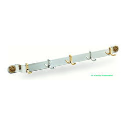 """Custom coat rack - Custom stainless steel coat rack for 32"""" stud center mounting, features polished mirror finish with 5 hooks, ( 2 stainless steel & 3 brass ) & brass rosette mounting screw covers."""