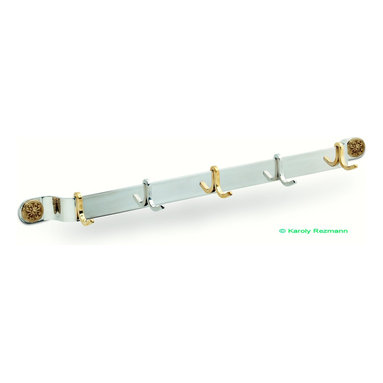 "Custom coat rack - Custom stainless steel coat rack for 32"" stud center mounting, features polished mirror finish with 5 hooks, ( 2 stainless steel & 3 brass ) & brass rosette mounting screw covers."