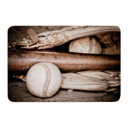 """KESS InHouse - Debbra Obertanec """"Play Ball"""" Baseball Memory Foam Bath Mat (17"""" x 24"""") - These super absorbent bath mats will add comfort and style to your bathroom. These memory foam mats will feel like you are in a spa every time you step out of the shower. Available in two sizes, 17"""" x 24"""" and 24"""" x 36"""", with a .5"""" thickness and non skid backing, these will fit every style of bathroom. Add comfort like never before in front of your vanity, sink, bathtub, shower or even laundry room. Machine wash cold, gentle cycle, tumble dry low or lay flat to dry. Printed on single side."""