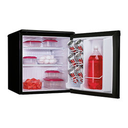 Danby - 1.8 Cu. Ft. Compact All Refrig, Auto Cycle Defrost, Energy Star - The Danby Energy Star DAR195BL 1.8 Cu. Ft. Designer Compact All Refrigerator, in black, is energy efficient refrigeration in a convenient, compact space. This model makes a great addition to the student dorm room. It includes our second generation CanStor beverage dispenser, tall bottle storage and a scratch resistant work top to store accessories. Energy Star 1.8 Cu. Ft. (51 litter) capacity all refrigerator