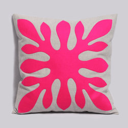 Decorative Hawaiian Pillow Cover Neon Pink And Light Gray By Pillowation - This bright Hawaiian floral patterned pillow is adorable in neon pink.